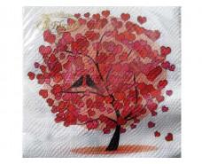 Свадебная салфетка (ЗЗхЗЗ, 20шт) La Fleur  Любовное дерево (057) (1 пач)