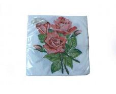 Праздничная салфетка (ЗЗхЗЗ, 20шт) La Fleur  Розы для любимой  (410) (1 пач)