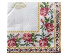 Дизайнерская салфетка (ЗЗхЗЗ, 20шт)  La Fleur  Вышитая роза   (050) (1 пач)