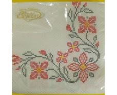 Дизайнерская салфетка (ЗЗхЗЗ, 20шт)  La Fleur  Вышитые цветы (118) (1 пач)
