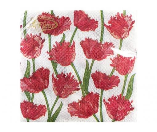 Красивая салфетка (ЗЗхЗЗ, 20шт)  La Fleur  Кучерявые тюльпаны (023) (1 пач)