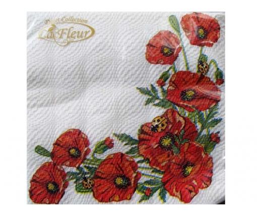 Дизайнерская салфетка (ЗЗхЗЗ, 20шт)  La Fleur  Маковое поле 398 (1 пач)