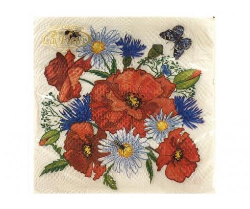 Дизайнерская салфетка (ЗЗхЗЗ, 20шт)  La Fleur  Полевая радость (022) (1 пач)