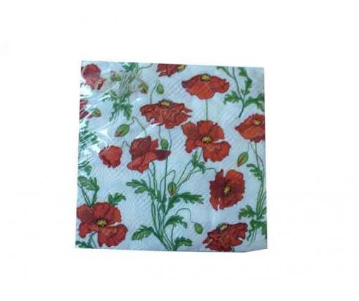 Дизайнерская салфетка (ЗЗхЗЗ, 20шт)  La Fleur  Полотно из маков (107) (1 пачка)