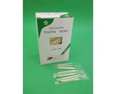 Зубочистка с зеленым кончиком в индивидуальной целлофановой упаковке (1000 шт) (1 пач)