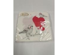 Свадебная салфетка (ЗЗхЗЗ, 20шт) La Fleur  Влюбленые Птички 996 (1 пач)