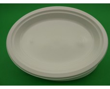 Одноразовая овальная пластиковая тарелка 310 mm  белая (100 шт)