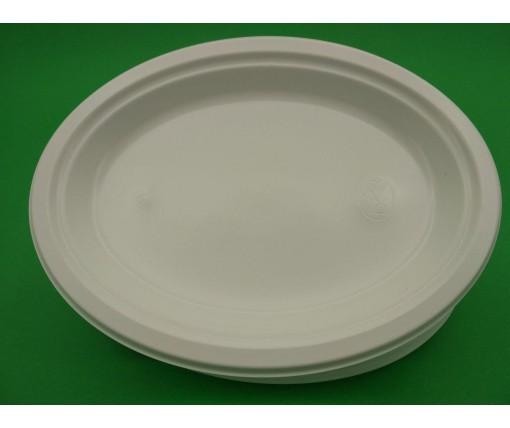 Одноразовая овальная пластиковая тарелка 310 mm  белая (50 шт)