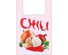 """Пакеты """"майка""""(28+2*7,5х49) с  изображением""""Чили""""  (100 шт)"""