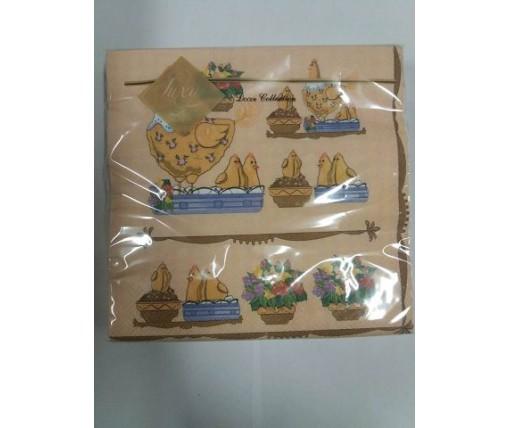 Дизайнерская салфетка (ЗЗхЗЗ, 20шт) Luxy  куры и цыплята 411 (1 пач)