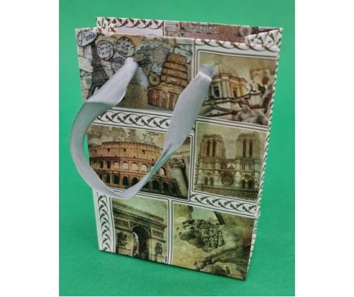 Пакет бумажный подарочный  МИНИ 8*12*3.5 арт40 (12 шт)