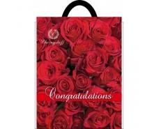 """Пакеты с вырубной ручкой (29х37""""Красная роза """"Ренпако (50 шт)"""
