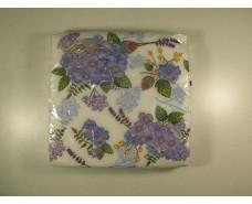 Дизайнерская салфетка (ЗЗхЗЗ, 20шт)  La Fleur  нежные гортензии 506 (1 пач)