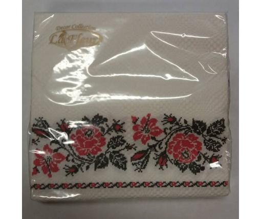 Дизайнерская салфетка (ЗЗхЗЗ, 20шт)  La Fleur Класическая вышиванка (1 пач)