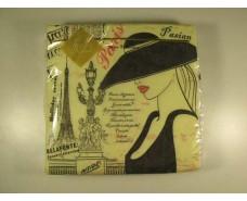 Салфетка (ЗЗхЗЗ, 20шт) Luxy  Парижанка 043 (1 пач)