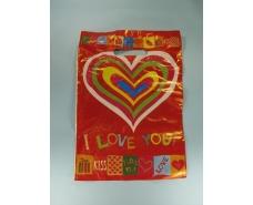 """Пакет с прорезной ручкой(25*35)""""Разноцветное сердце"""" Леоми (50 шт)"""