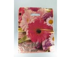 """Пакет с прорезной ручкой (30*37+3) Цветы """"Розовая гербера""""  Леоми (50 шт)"""