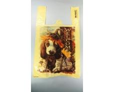 """Пакеты """"майка""""(28+2*7,5х49) с  изображения""""Собака Welcome""""Леони (100 шт)"""