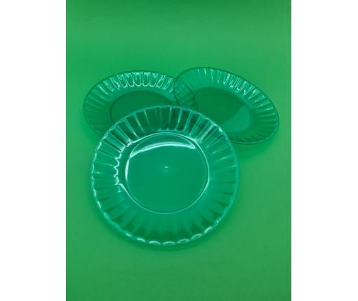 Одноразовая тарелка  стеклоподобная диаметр 205 мм  зеленая (10 шт)