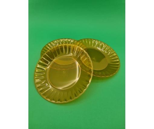 Одноразовая тарелка  стеклоподобная диаметр 205 мм  оранжевая (10 шт)