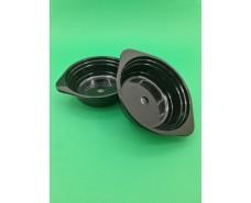 Тарелка одноразовая  стеклоподобная диаметр 500 мл  черная (10 шт)