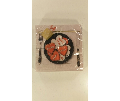 Дизайнерская салфетка (ЗЗхЗЗ, 20шт) Luxy  Романтический ужин (1 пач)