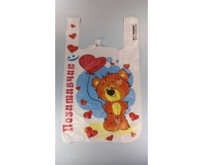 Пакет с ручками( типа Майка ) (28+2*7,5х49) Сердца  (100 шт)