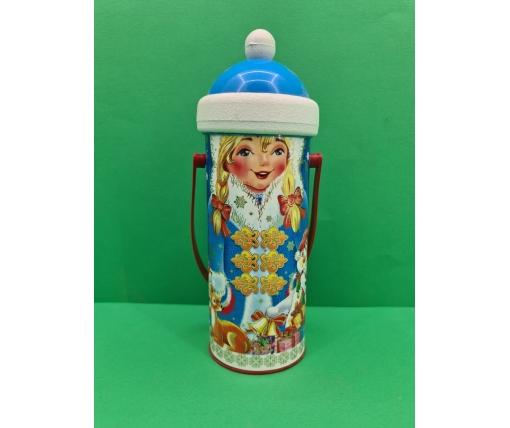 Новогодний тубус для конфет  средний /Снегурочка(d-87*205mm) (1 шт)