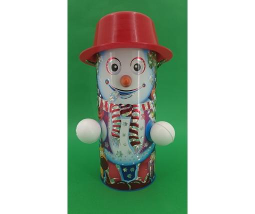 Новогодний тубус для конфет  средний /Снеговики(d-87*205mm) (1 шт)