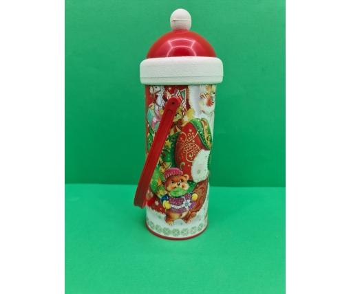 Новогодний тубус для конфет  средний /Дед Мороз и медвежонок(d-87*205mm) (1 шт)