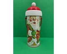 Новогодний тубус для конфет  малый  /Дед Мороз и медвежонок(d-67*165mm) (1 шт)