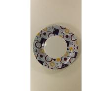 Тарелка бумажная ламинированая 18см рисунок Голубая  50шт (1 пач)
