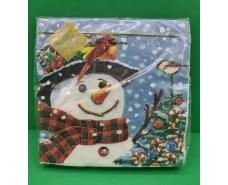 """Новогодняя салфетка (ЗЗхЗЗ, 20шт) LuxyНГ  """"Добрий сніговик"""" (1 пач)"""