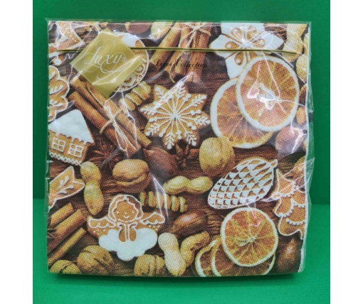 Дизайнерская салфетка (ЗЗхЗЗ, 20шт) LuxyНГ Новогодние сладости (1 пачка)