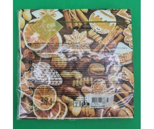 Дизайнерская салфетка (ЗЗхЗЗ, 20шт) LuxyНГ Новогодние сладости (1 пач)