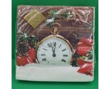 Праздничная салфетка (ЗЗхЗЗ, 20шт) LuxyНГ Праздничные часы (1 пач)