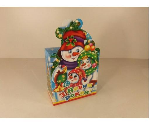 Новогодняя коробка для конфет №103(Семья снеговиков700) (25 шт)