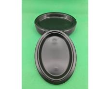 Овальная тарелка одноразовая пластиковая 260 mm Черная (50 шт)