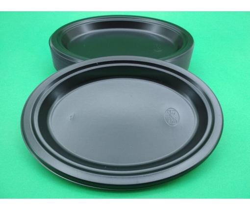 Одноразовая овальная пластиковая тарелка 310 mm  Черная (50 шт)