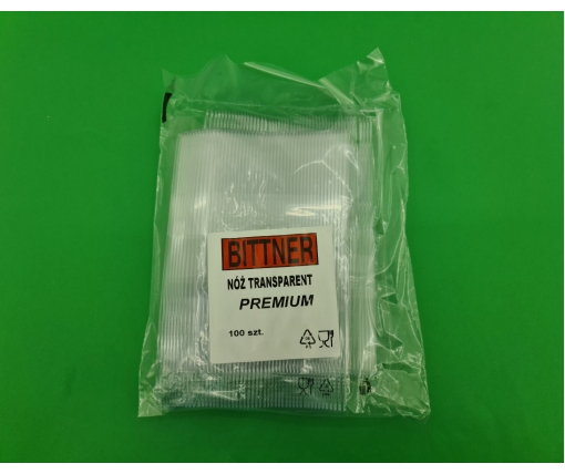 Нож 180 мм прозрачный  Премиум BITTNER (100 шт)