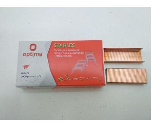 Скобы для степлера №24 Optima Медная (1000шт) (1 кор)