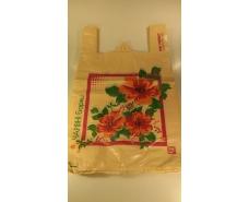 "Пакеты ""майка""(28+2*7,5х49) с  изображением""Три цветка""Леони (100 шт)"