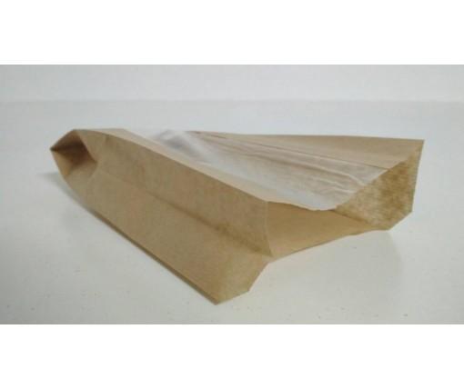 Пакет бумажный с ПП окном  14/6*25,5 коричневый (1000 шт)