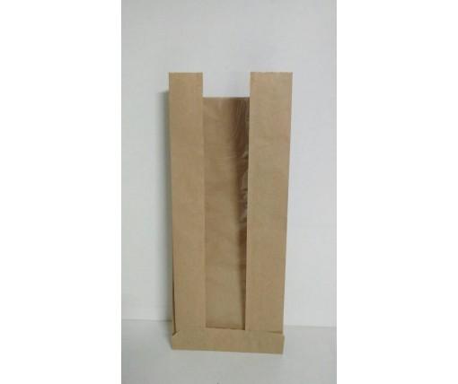 Пакет бумажный с ПП окном  12/5*29 коричневый (1000 шт)