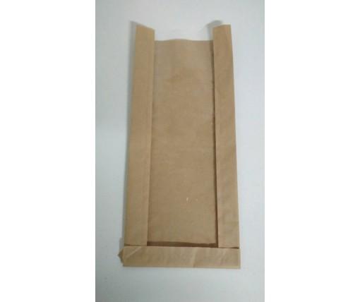 Пакет бумажный с ПП окном  17/6*41 коричневый (1000 шт)