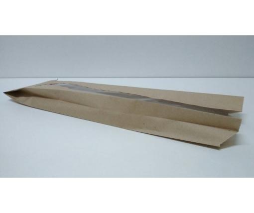 Пакет бумажный с ПП окном  12/5*41 коричневый (1000 шт)