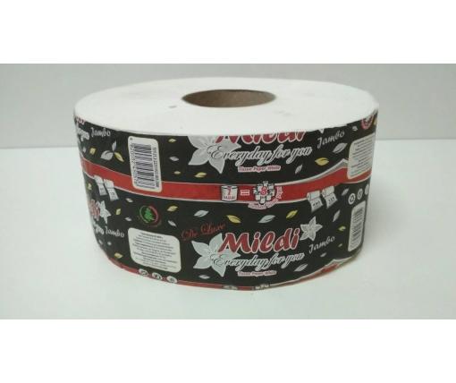 """Бумага туалетная на втулке Джамбо """"Mildi"""" 90*195/60 (2 слоя) De Luxe (8 рул)"""
