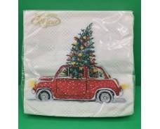 Праздничная салфетка (ЗЗхЗЗ, 20шт)  La FleurНГ Новогодний автомобиль(318) (1 пач)