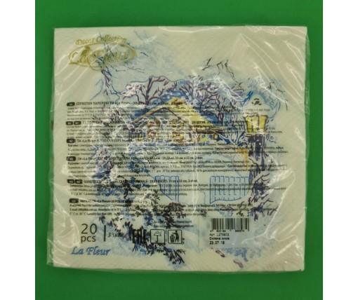 Новогодняя салфетка (ЗЗхЗЗ, 20шт)  La FleurНГ Снежная зима(315) (1 пач)