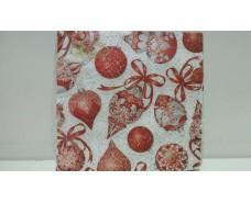 Новогодняя салфетка (ЗЗхЗЗ, 20шт)  La FleurНГ Красные украшения(313) (1 пач)